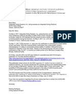 Letter to Integrated Voting Systems, Inc.