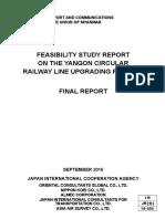 Feasibility Study Report on the Yangon Circular Railway Line Upgrading Project