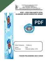 Kisi Dan Kartu Soal Prakarya 8 UAS GENAP 2017 2018