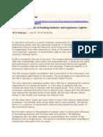 Recent Developments in Banking Industry and Regulatory Capture