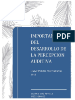 Ensayo Importancia Del Desarrollo de La Percepcion Auditiva