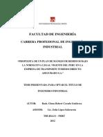 PROPUESTA DE UN PLAN DE MANEJO DE RESIDUOS BAJO LA NORMATIVA LEGAL VIGENTE DEL PERU EN LA EMPRESA DE TRANSPORTE TURISMO DIRECTO ASEGURADO S.A.