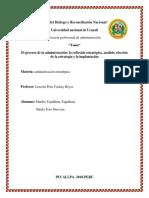 El Proceso de La Administración La Reflexión Estratégica Análisis Elección de La Estrategia y La Implantación