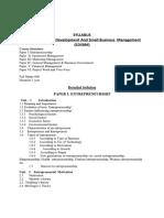 Entrepreneurship Development and Small Business Management Syllabus