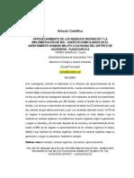 APROVECHAMIENTO DE LOS RESIDUOS ORGÁNICOS Y LA IMPLEMENTACIÓN DE BIO - HUERTOS DOMICILIARIOS