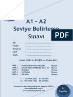 a1 - A2 Sevi̇ye Tespi̇t Sinavi Sorulari Ve Cevap Anahtari