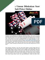 Kesalahan Umum Dilakukan Saat Bermain Judi Poker Online