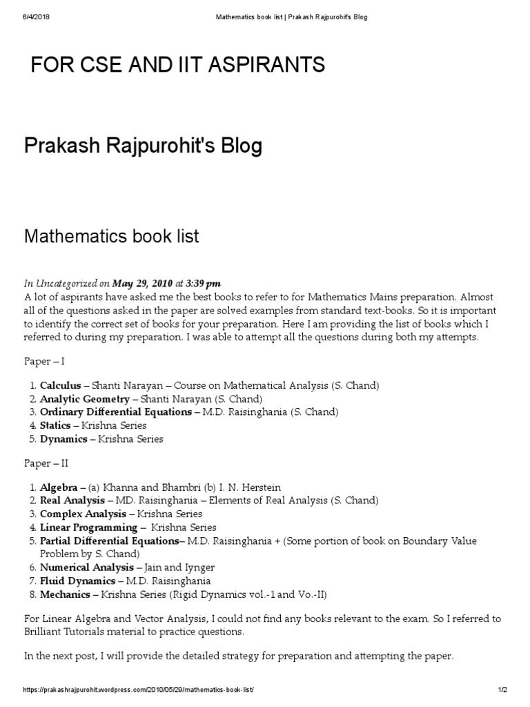 Mathematics Book List _ Prakash Rajpurohit's Blog