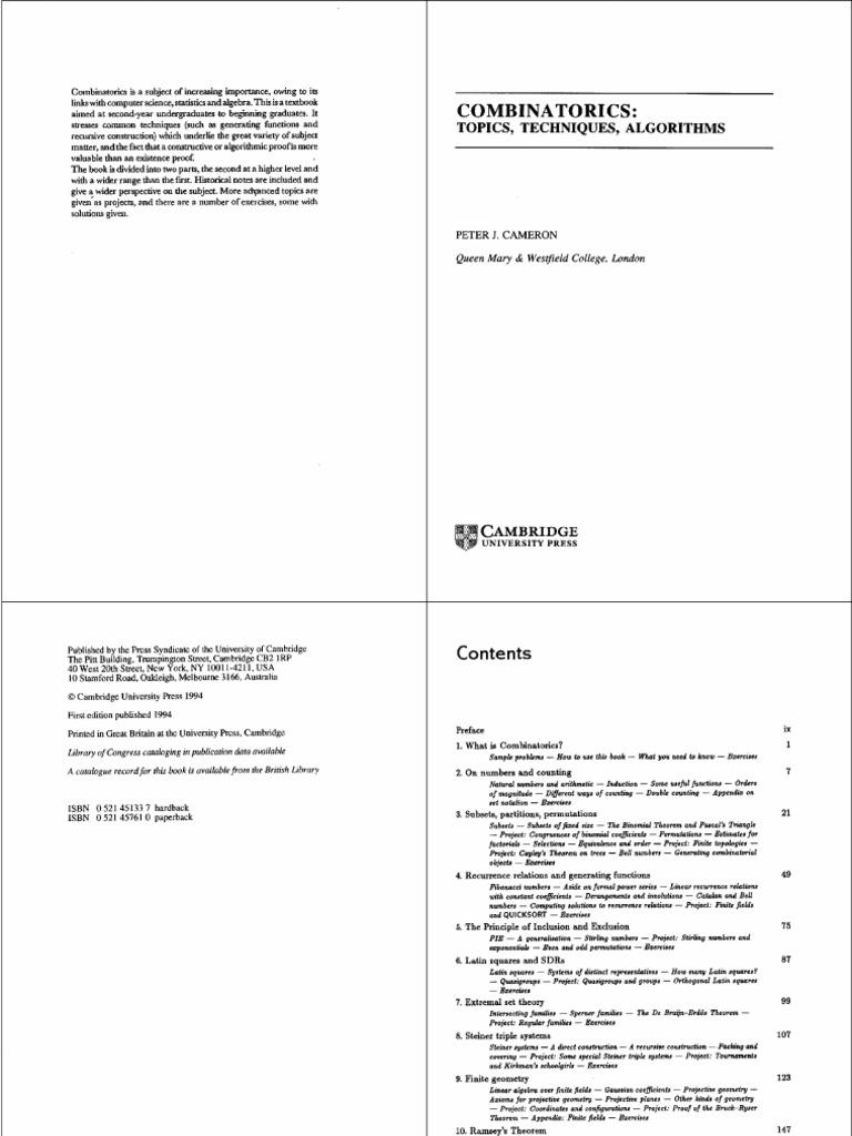 Topics Algorithms Techniques Combinatorics