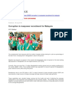 Corruption in Manpower Recruitment for Malaysia