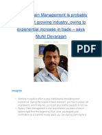 Supply Chain Management is probably the fastest growing industry, owing to exponential increase in trade — says Muhil Devrajan in conversation with MentorClub.in