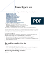Different Types of Personality Disorder