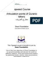 Articulation Points for Tajweed