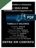 R$ 350,00 POR  TCC OU MONOGRAFIA WHATSAPP (21) 3942-6556