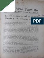 La Conciencia Moral en Santo Tomás y Los Sistemas Morales - Urdanoz