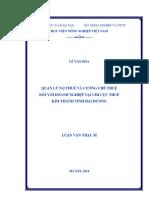 Quản lý nợ thuế và cưỡng chế thuế đối với doanh nghiệp tại Chi cục Thuế Kim Thành tỉnh Hải Dương