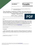 Trans-disciplinary Cooperation in Children With Autism Spectrum