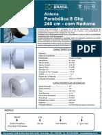 Parabólica UHP - 240cm - 8 GHz - Com Radome Shield