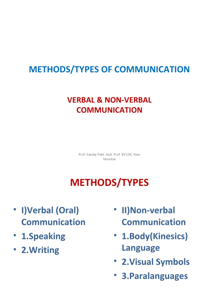 3 verbal communication methods