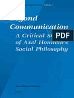 (Social and Critical Theory_ a Critical Horizons Book Series 7) Jean-Philippe Deranty-Beyond Communication_ a Critical Study of Axel Honneth's Social Philosophy -Brill (2009)