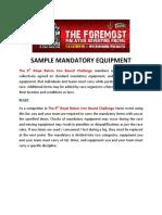 Sample Mandatory Equipment