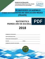 Primera Prueba de Avance de Matemática -Primer Año de Bachillerato 2018