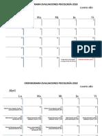 Cronograma Evaluaciones 1° Semestre, 4to Año