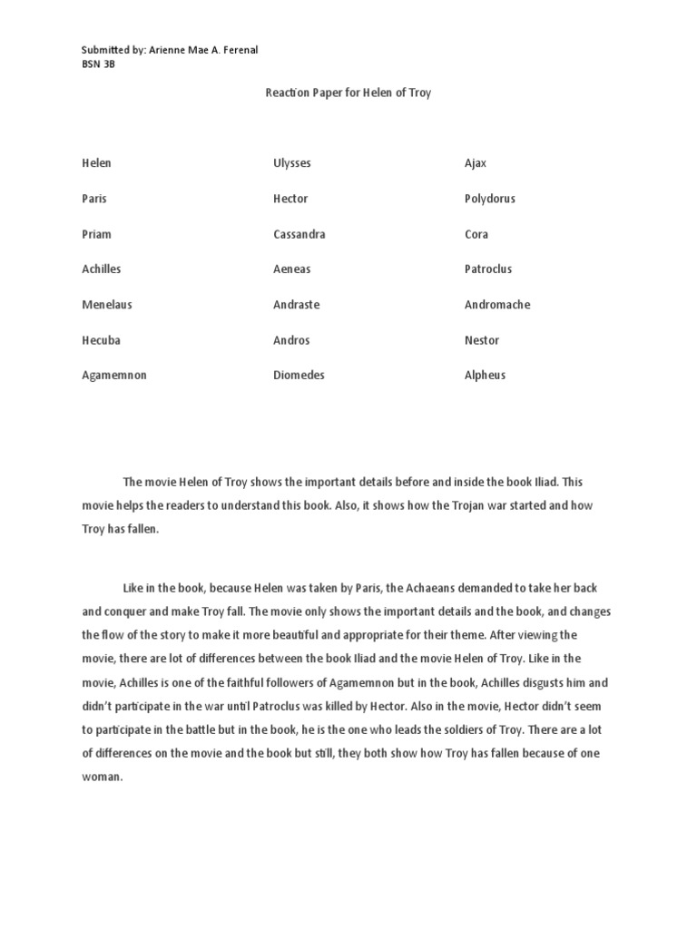 reaction paper for helen of troy