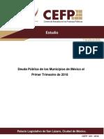 Deuda Pública de los Municipios de México al Primer Trimestre de 2018