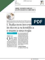 L'Italia non investe nella ricerca scientifica e manca una regia - Il Secolo XIX dell'8 luglio 2018