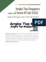 Prediksi Angka Top Singapura Hari Ini Senin 09 Juli 2018