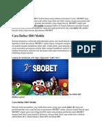 Cara Daftar SBO Mobile