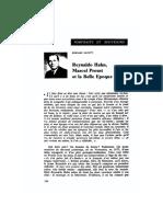 Hahn, Proust and la Belle Epoque