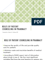 01.1 Roles of Patient Counseling in Dispensing