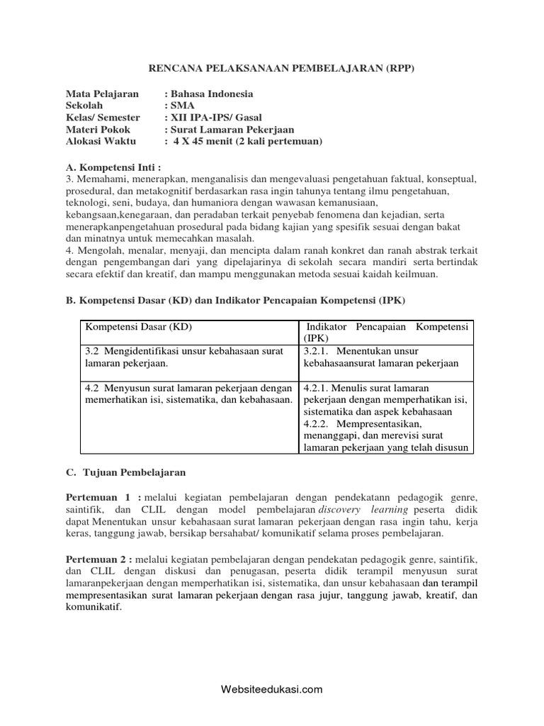 Contoh Surat Lamaran Pekerjaan Bahasa Indonesia Kelas Xii Contoh Lif Co Id