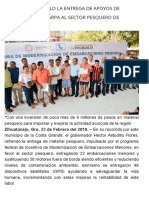 23-02-2018 Gestiona Astudillo La Entrega de Apoyos de CONAPESCA y Sagarpa Al Sector Pesquero de Zihuatanejo.