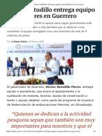 23-02-2018 Héctor Astudillo Entrega Equipo a Pescadores en Guerrero.