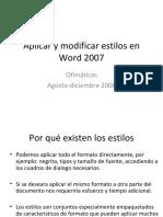 Aplicar y Modificar Estilos en Word 2007