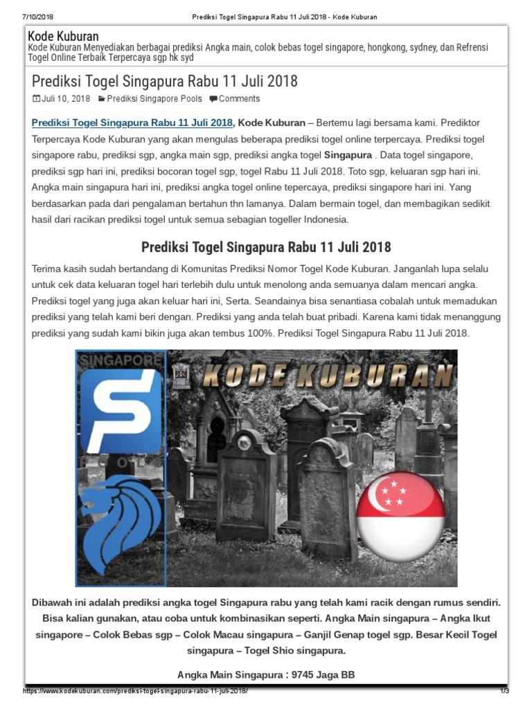 PREDIKSI SINGAPORE JITU Prediksi togel Singapura Minggu 7
