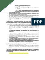 Processo Civil - Disposições Finais Do Cpc
