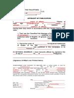 Affidavit of Publication