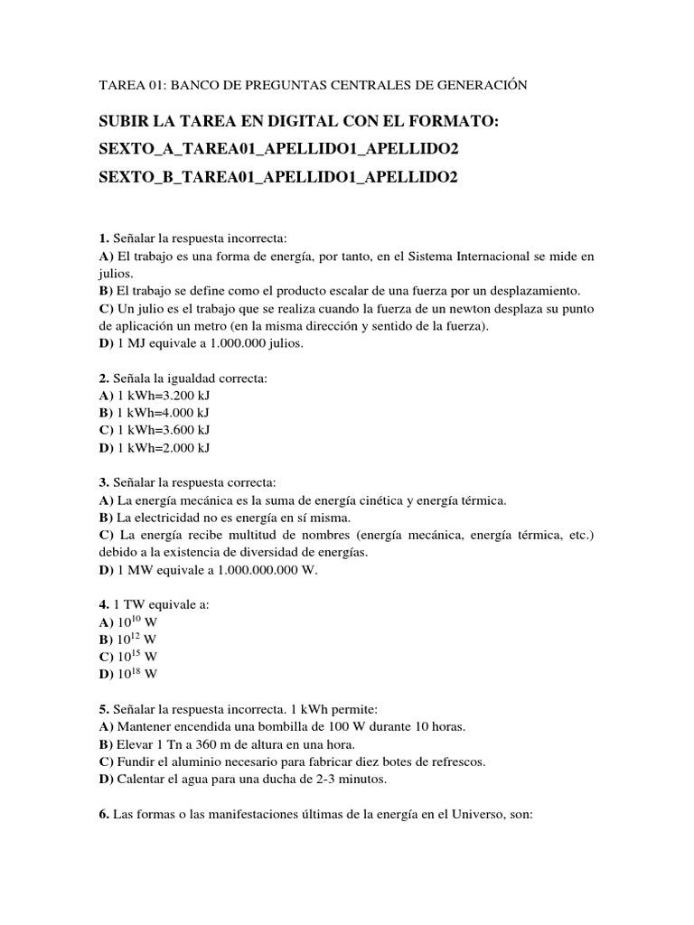 Tarea 01 Banco De Preguntas 1 La Energia Nuclear Uranio