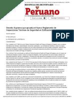 El Peruano - Decreto Supremo que aprueba el Nuevo Reglamento de Inspecciones Técnicas de Seguridad en Edificaciones - DECRETO SUPREMO - N° 002-2018-PCM - PODER EJECUTIVO - PRESIDENCIA DEL CONSEJO DE MINISTROS.pdf