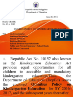 DEPED ORDER # 47 - Omnibus Policy on Kindergarten Education