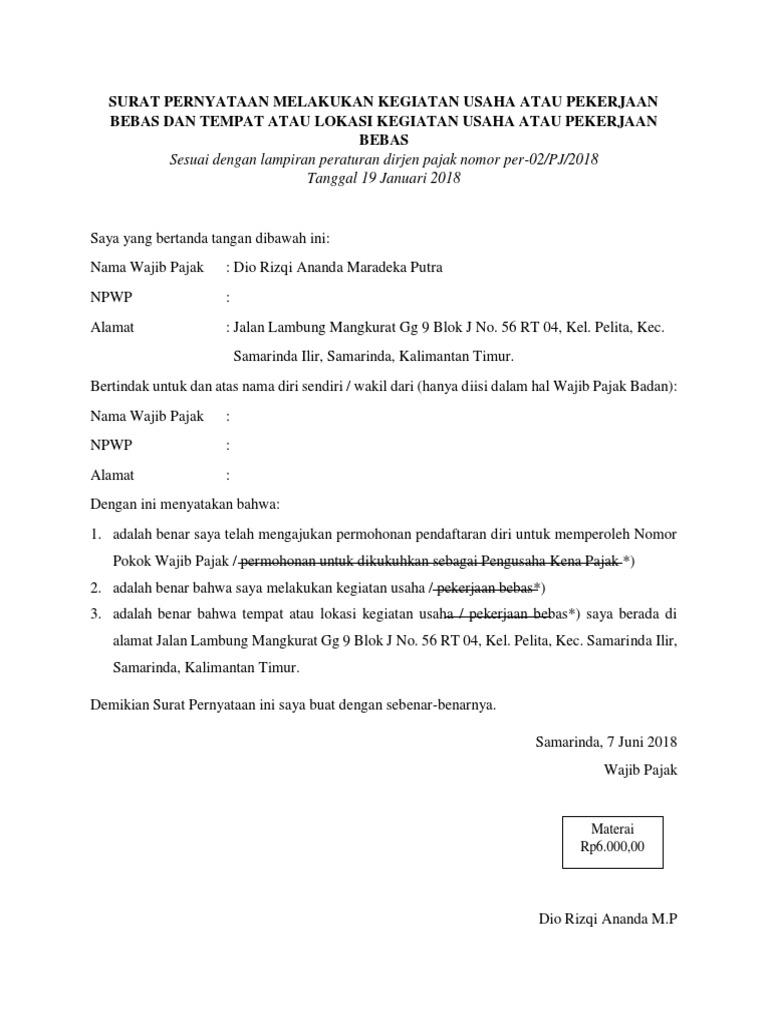Surat Pernyataan Melakukan Kegiatan Usaha Atau Pekerjaan