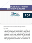 German Student Visa Interview Questions and Answers