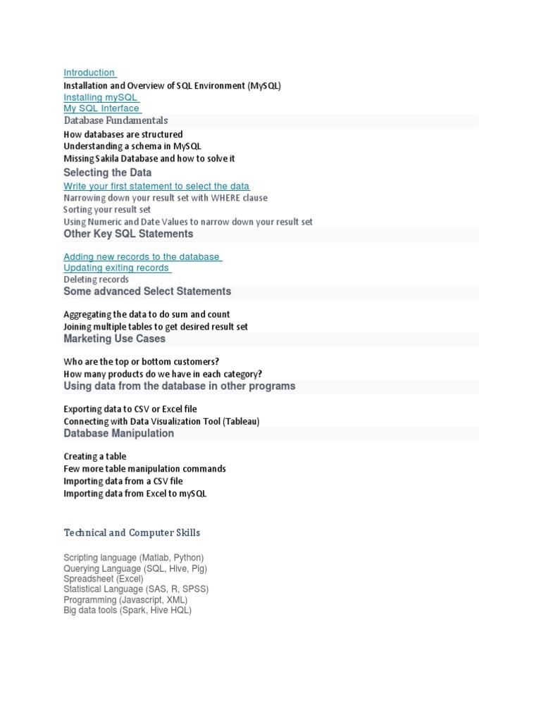 digital analyst docx | Databases | Microsoft Excel