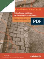 El Espíritu de La Calle. Psicología Política de La Cultura Cotidiana - Pablo Fernández Christlieb