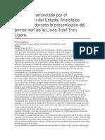 Presentación Del Primer Tren de La Línea 3 Del Tren Ligero