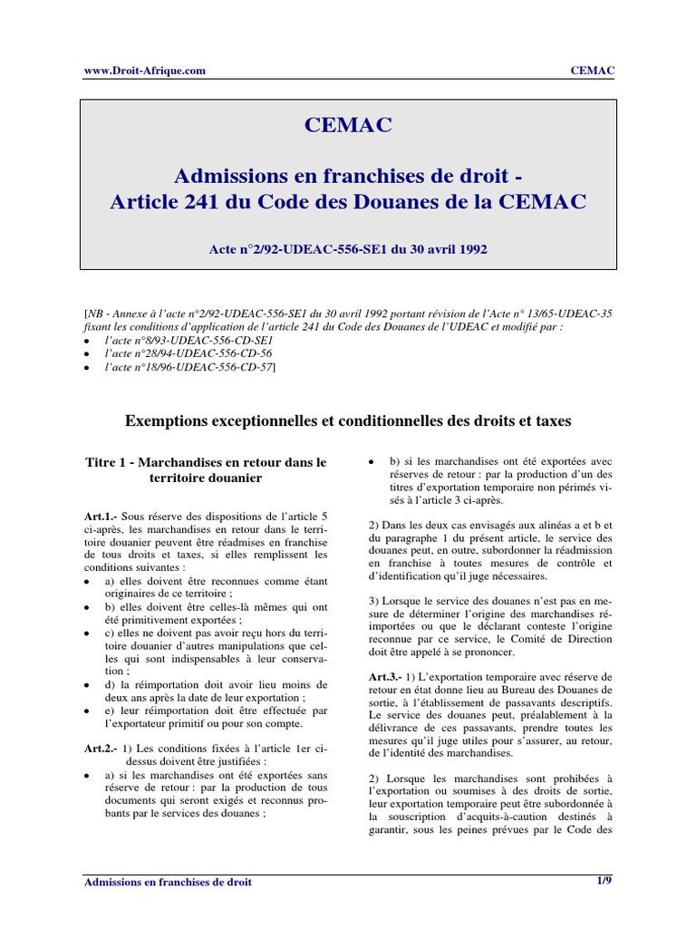 TARIF DOUANIER CEMAC TÉLÉCHARGER